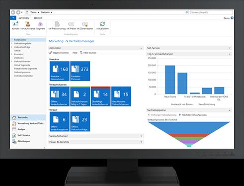 Bildschirm mit Microsoft Dynamics NAV Oberfläche